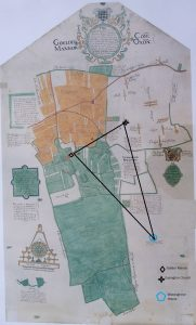 Map of Golders Manor Marked up to ascertain location of Warpsgrove House