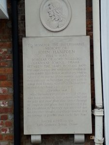 Close up of John Hampden Memorial Stone Thame at the entrance to Greyhound Walk